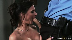 She pleases his cock with her big tits and her lips before he sticks it in her cunt