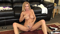 Shapely, fair-haired ginch Brooke Tyler introduces her beautiful pussy to the audience
