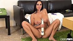 Ava Addams uses her experience to make herself cum hard when alone
