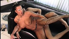 The hottie with amazing tits lies on the couch and gets spoon fucked hard and deep
