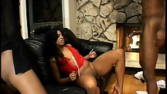 A couple of hot black chicks play with each other and let him join