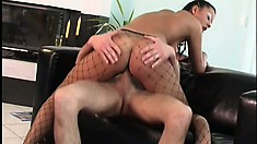 Anetta, a busty babe with a spicy ass and sexy long legs, wildly rides a big cock