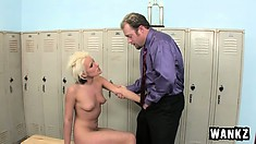 Hot blonde Angel Couture gets fucked by coach Jenner in the locker room