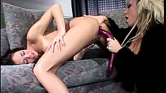 Fishnet blonde and a sexy brunette munch each other's wet twats