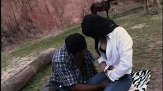 Kinky Rafaela offers up her asshole to a big black snake outdoors