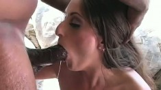 Desirable brunette with a perfect ass Carmen Hayes fucks a black cock
