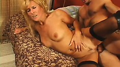 Eager blonde lady wears sexy fishnets as her slit gets boned