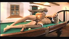 Horny blonde bends over the pool table to have her snatch dicked