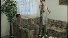 Sexy stud has his gay lover fucking his butt hole bareback on the sofa